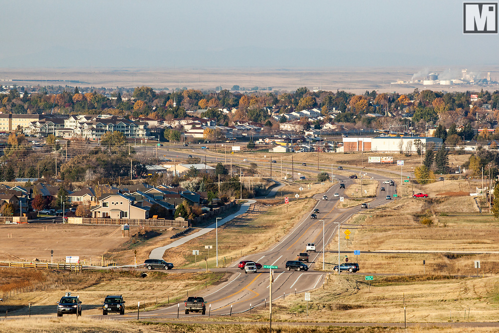 View of Cheyenne and Highway 30 and Lincoln Highway from the eastern part of Cheyenne on US 30 and Foxglove Drive at radio towers and cell tower (Northeast of Saddle Ridge Elementary School).