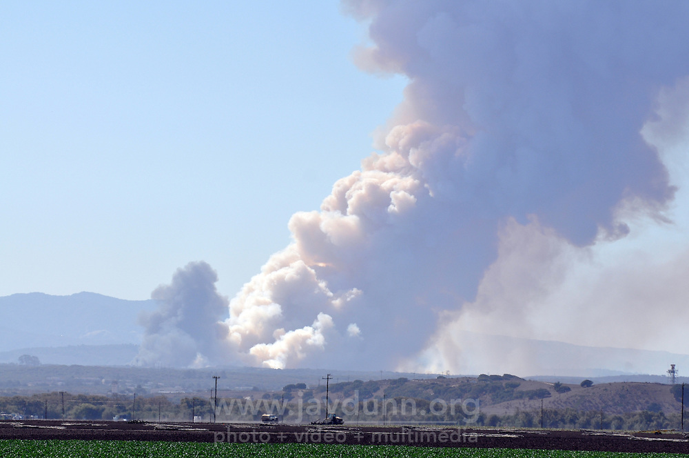 A view of Monday's prescribed burn in Ft. Ord, as seen from a point on Route 183 midway between Castroville and Salinas on October 14th.