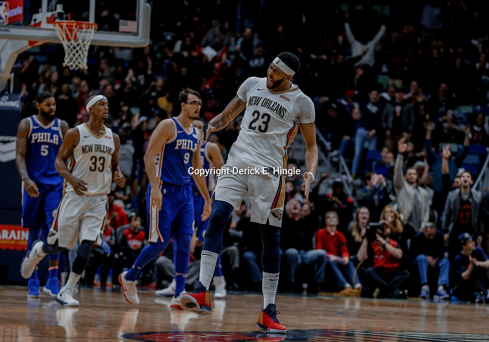 Dec 10, 2017; New Orleans, LA, USA; New Orleans Pelicans forward Anthony Davis (23) celebrates after a three point basket against the Philadelphia 76ers during the fourth quarter at the Smoothie King Center. The Pelicans defeated the 76ers 131-124. Mandatory Credit: Derick E. Hingle-USA TODAY Sports