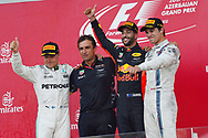 Valtteri Bottas of Mercedes AMG Petronas, Daniel Ricciardo of Red Bull and Lance Stroll of Williams Martin on the podium of the Azerbaijan Formula One Grand Prix at Baku City Circuit, Baku<br /> Picture by EXPA Pictures/Focus Images Ltd 07814482222<br /> 25/06/2017<br /> *** UK &amp; IRELAND ONLY ***<br /> <br /> EXPA-EIB-170625-0063.jpg