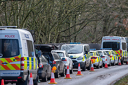 "© Licensed to London News Pictures. 11/12/2019. Gerrards Cross, UK. Police vehicles at the scene in Gerrards Cross in Buckinghamshire as the Police Service continue to search woodland. Police have been in the area conducting operations since Thursday 5th December 2019. In a press statement issued on 7th December, a Metropolitan Police spokesperson said ""Officers are currently in the Gerrards Cross area of Buckinghamshire as part of an ongoing investigation.<br /> ""We are not prepared to discuss further for operational reasons."" Photo credit: Peter Manning/LNP"
