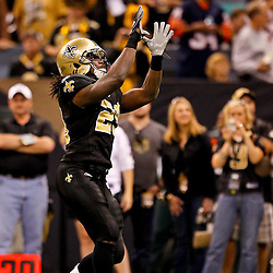 Oct 31, 2010; New Orleans, LA, USA; New Orleans Saints safety Usama Young (28) during warm ups  prior to kickoff of a game against the Pittsburgh Steelers at the Louisiana Superdome. Mandatory Credit: Derick E. Hingle
