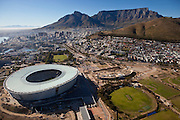 Aerial view of Cape Town stadium nearing completion. Aerial Images of Cape Town Images by Greg Beadle