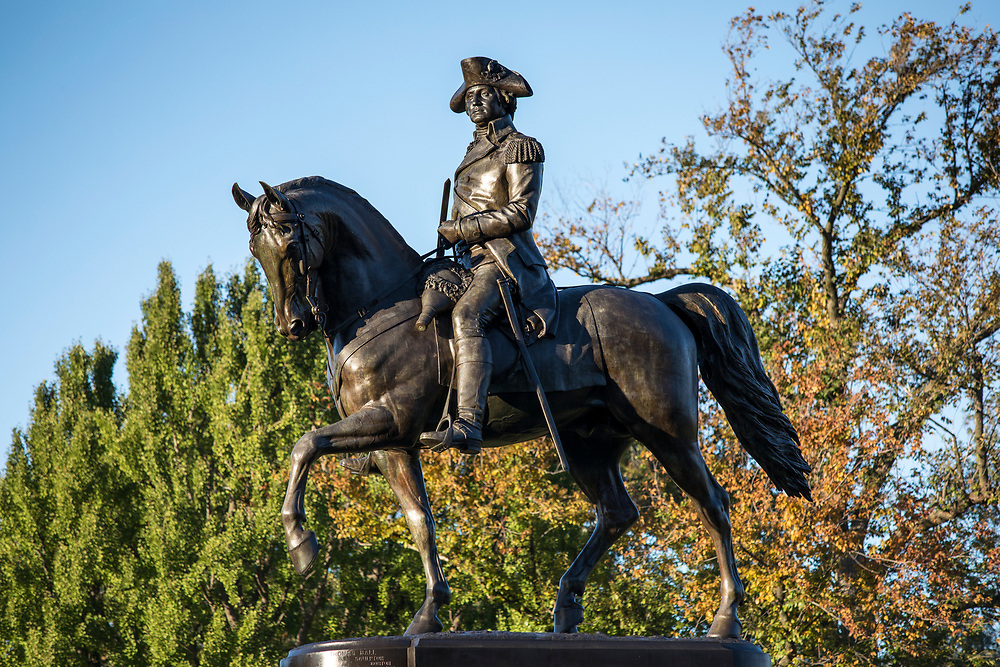 Bronze statue monument of George Washington and horse in the Public Garden in Boston, Massachusetts, USA