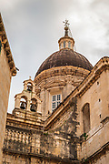 Bell tower and dome of Dubrovnik Cathedral, old town Dubrovnik, Dalmatian Coast, Croatia