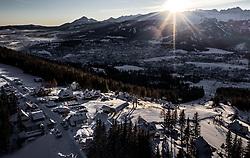 THEMENBILD - Sonnenaufgang bei einem Ski- und Urlaubsresort , aufgenommen am 18. Januar 2019 in Zakopane, Polen // Sunrise at a ski and vacation resort, Zakopane, Poland on 2019/01/18. EXPA Pictures © 2019, PhotoCredit: EXPA/ JFK