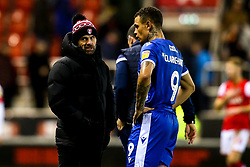 Rotherham United manager Paul Warne speaks to Jonson Clarke-Harris of Bristol Rovers - Mandatory by-line: Robbie Stephenson/JMP - 18/01/2020 - FOOTBALL - Aesseal New York Stadium - Rotherham, England - Rotherham United v Bristol Rovers - Sky Bet League One