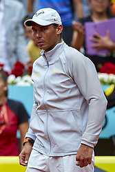 May 9, 2018 - Madrid, Madrid, Spain - Rafael Nadal of Spain looks on at the end of his match against Gael Monfils of France during day five of the Mutua Madrid Open tennis tournament at the Caja Magica on May 9, 2018 in Madrid, Spain  (Credit Image: © David Aliaga/NurPhoto via ZUMA Press)
