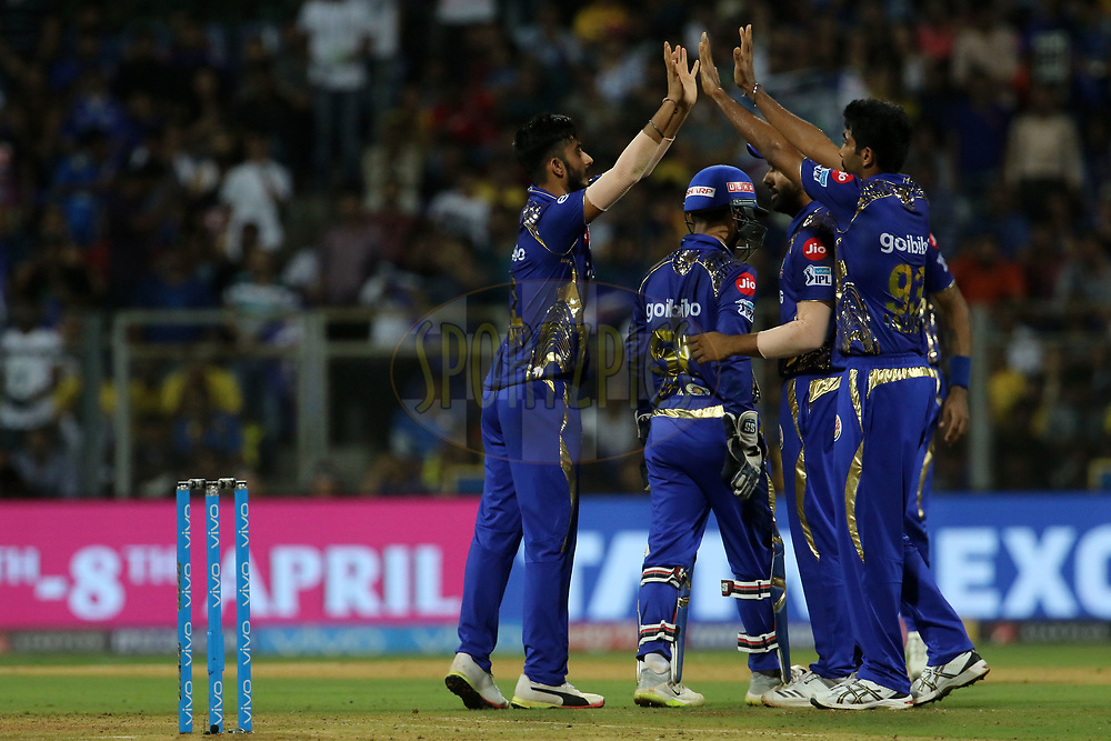 Mumbai Indians players celebrates the wicket of MS Dhoni captain of the Chennai Superkings during match one of the Vivo Indian Premier League 2018 (IPL 2018) between the Mumbai Indians and the Chennai Super Kings held at the Wankhede Stadium in Mumbai on the 7th April 2018.<br /> <br /> Photo by Vipin Pawar / IPL / SPORTZPICS