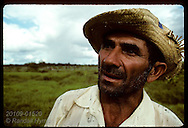 Head portrait of foreman of jungle cattle ranch in pasture near Eirunepe, Amazonas. Brazil