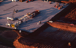 Stock photo of an aerial view of an onshore rig laying on its side