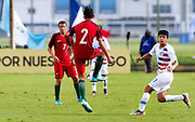Portugal midfielder David Montiero (2) receives a pass while Team USA forward Rafael Jauregui (11) looks to pressure the ball during a CONCACAF boys under-15 championship soccer game, Saturday, August 10, 2019, in Bradenton, Fla. Portugal defeated Team USA 3-0 and advanced to the finals against Slovenia. (Kim Hukari/Image of Sport)