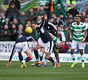 Dundee&rsquo;s Tom Hateley out fights Celtic&rsquo;s Scott Brown - Dundee v Celtic in the Ladbrokes Scottish Premiership at Dens Park, Dundee.Photo: David Young<br /> <br />  - &copy; David Young - www.davidyoungphoto.co.uk - email: davidyoungphoto@gmail.com