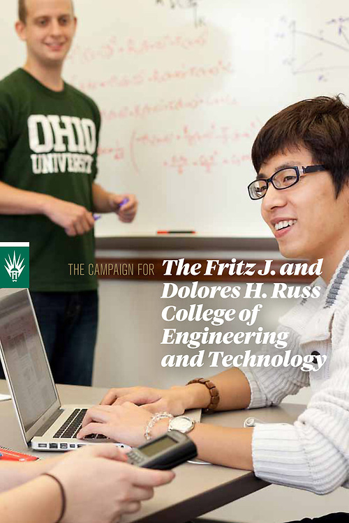 Ohio University Advancement Campaign fundraising brochure for the Russ College of Engineering, Athens, Ohio.