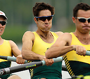 "Poznan, POLAND.  2006, FISA, Rowing, World Cup,  AUS  LM4- bow  Tim O""CALLAGHAN,  Michael  MCBRYDE, Ben CURETON, Todd SKIPWORTH, move  away from  the  start, on the Malta  Lake. Regatta Course, Poznan, Thurs. 15.05.2006. © Peter Spurrier   ...[Mandatory Credit Peter Spurrier/ Intersport Images] Rowing Course:Malta Rowing Course, Poznan, POLAND"