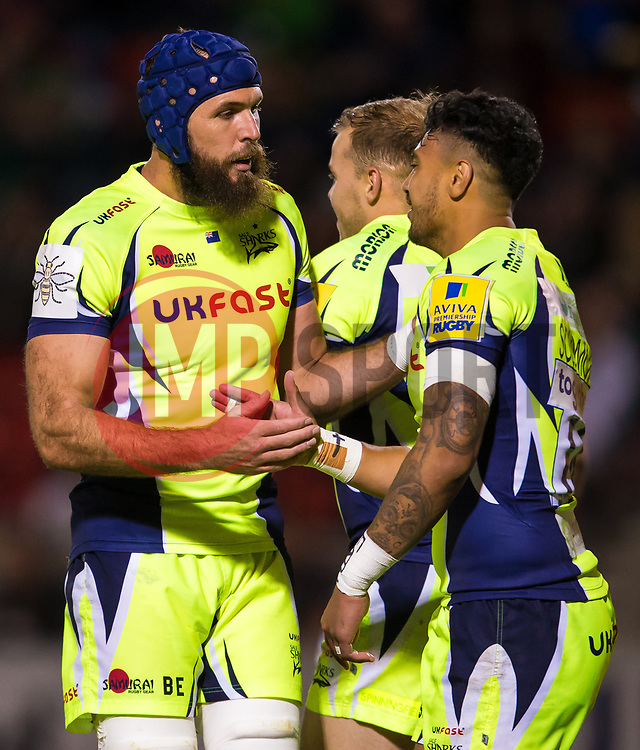 Bryn Evans congratulates Denny Solomona of Sale Sharks - Mandatory by-line: Matt McNulty/JMP - 15/09/2017 - RUGBY - AJ Bell Stadium - Sale, England - Sale Sharks v London Irish - Aviva Premiership