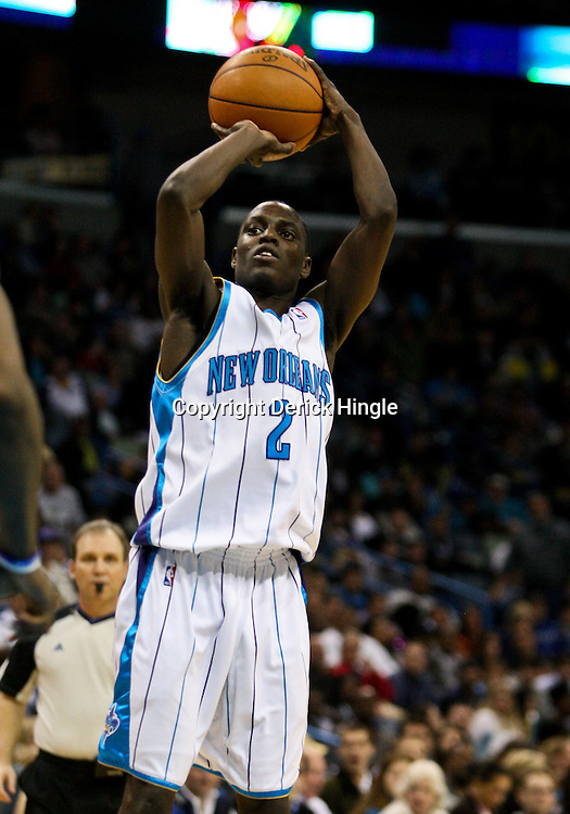 Feb 26, 2010; New Orleans, LA, USA; New Orleans Hornets guard Darren Collison (2) shoots against the Orlando Magic during the second half at the New Orleans Arena. The Hornets defeated the Magic 100-93. Mandatory Credit: Derick E. Hingle-US PRESSWIRE