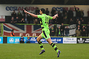 Forest Green Rovers Omar Bugiel(11) celebrates his goal, 4-2 during the Vanarama National League match between Forest Green Rovers and Woking at the New Lawn, Forest Green, United Kingdom on 25 February 2017. Photo by Shane Healey.