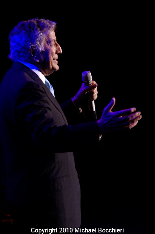 American singer Tony Bennett performs at the Bergen Performing Arts Center in Englewood, New Jersey