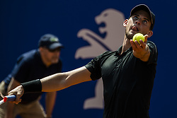 April 26, 2018 - Barcelona, Catalonia, Spain - DOMINIC THIEM (AUT) serves against Jozef Kovalik (SVK) during Day 4 of the 'Barcelona Open Banc Sabadell' 2018. Thiem won 7:6, 6:2 (Credit Image: © Matthias Oesterle via ZUMA Wire)