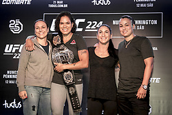 March 20, 2018 - Brazil - RIO DE JANEIRO, RJ - 20.03.2018: COLETIVA UFC 224 NUNES X PENNINGTON - Amanda Nunes, Raquel Pennington and their teammates during the press conference for the UFC 224 sales opening announcement: Nunes x Pennington, scheduled for May 12 at Jeunesse Arena in Rio de Janeiro. (Credit Image: © Fotoarena via ZUMA Press)