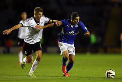 Leicester City's Anthony Knockaert beats Fulham's Alex Kacaniklic - Photo mandatory by-line: Matt Bunn/JMP - Tel: Mobile: 07966 386802 29/10/2013 - SPORT - FOOTBALL - King Power Stadium - Leicester City - Leicester City v Fulham - Capital One Cup - Forth Round
