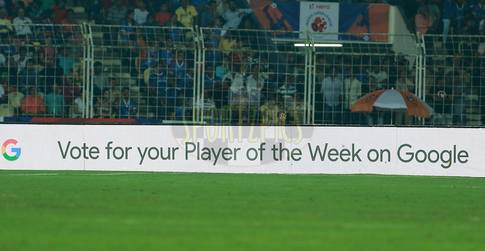Player of the week branding during match 8 of the Indian Super League (ISL) season 3 between FC Goa and FC Pune City held at the Fatorda Stadium in Goa, India on the 8th October 2016.<br /> <br /> Photo by Vipin Pawar / ISL/ SPORTZPICS