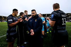 Francois Hougaard of Worcester Warriors walks through a guard of honour formed by the Newcastle Falcons players - Mandatory by-line: Robbie Stephenson/JMP - 03/03/2019 - RUGBY - Kingston Park - Newcastle upon Tyne, England - Newcastle Falcons v Worcester Warriors - Gallagher Premiership Rugby