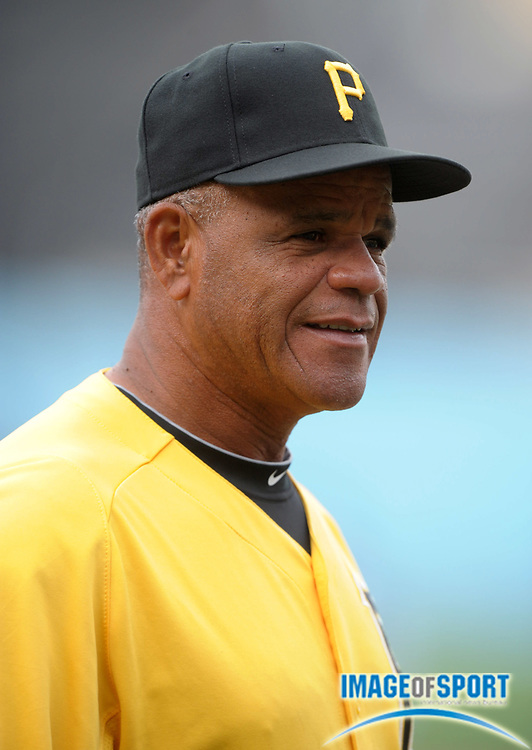 Apr 11, 2012; Los Angeles, CA, USA; Pittsburgh Pirates first base coach Luis Silverio (15) before the game against the Los Angeles Dodgers at Dodger Stadium.