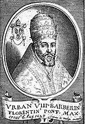 Urban VIII (Maffeo Barberini, 1568-1644) Pope from 1623.  Galileo's friend and dedicatee of his' Il Saggiatore' who, as Pope, condemned him for his heretical theories.  Copperplate engraving.