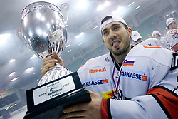 Goalkeeper of Jesenice Dov Grumet-Morris celebrates with a Trophy  at 6th Round of ice-hockey Slovenian National Championships match between HDD Tilia Olimpija and HK Acroni Jesenice, on April 2, 2010, Hala Tivoli, Ljubljana, Slovenia.  Acroni Jesenice won 3:2 after overtime and became Slovenian National Champion 2010. (Photo by Vid Ponikvar / Sportida)