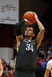 Feb 19, 2012; Stanford CA, USA; Oregon Ducks guard Devoe Joseph (34) shoots a free throw against the Stanford Cardinal during the second half at Maples Pavilion. Oregon defeated Stanford 68-64. Mandatory Credit: Jason O. Watson-US PRESSWIRE