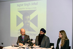 "Pictured: Martin Docherty-Hughes, SNP, MSP for West Dumbartonshire, Gurpreet Singh Johal, Jaggi's brother, Josie Fathers, Advocate Office for REDRESS<br /> <br /> This week marks 100 days since the arrest of Jagtar Singh Johal, a Scottish Sikh from Dumbarton who has been held by Indian police without charge since 4 November 2017.  The arrest came two weeks after Jagtar, also known as 'Jaggi"" travelled to india from Scotland for his wedding.<br /> <br /> <br /> Ger Harley 