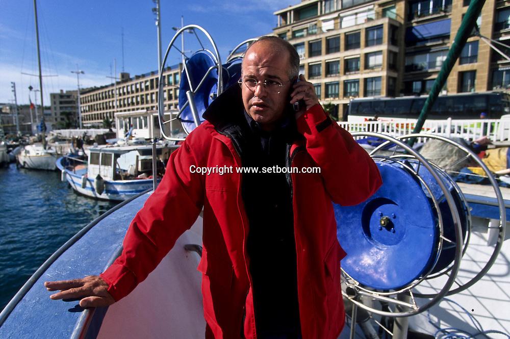 MOURAD KAHOUL THE PRESIDENT OF THE FISHERMEN IS COMING FROM ALGERIA IN 1980  Marseille  France  MOURAD KAHOUL . PATRON DES PECHEURS DE LA VILLE. EST VENU D ALGERIE EN 1980  Marseille  France        L0008263  /  R20711  /  P115817
