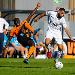 Dovers midfielder Aryan Tajbakhsh over powers Barnets defender David Tutonda during the National League match between Dover Athletic and Barnet FC at Crabble Stadium, Kent on 1 September 2018. Photo by Matt Bristow.