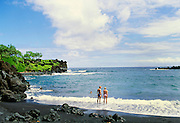 Waianapanapa Black Sand Beach,Hana Coast, Maui, Hawaii