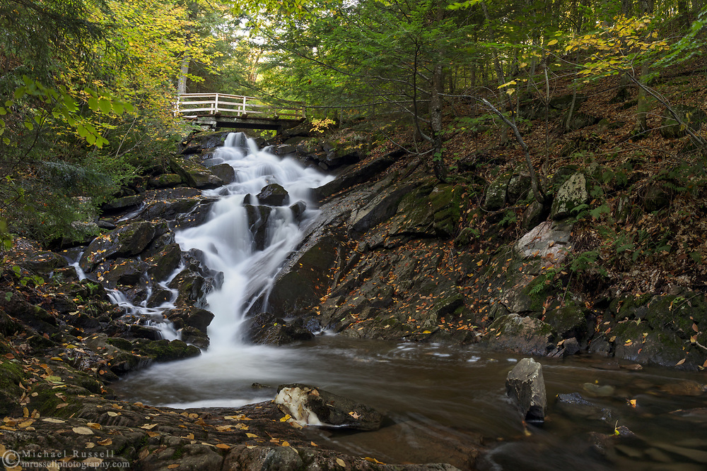 Dunlop Falls on Fortune Creek (Ruisseau Fortune) in the early fall. Photographed near the Dunlop Picnic Area during Fall Rhapsody in Gatineau Park, Québec, Canada.