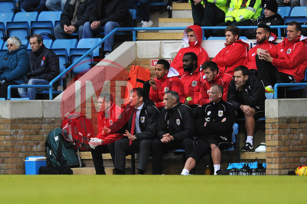 Bristol City manager, Steve Cotterill shouts instructions from the bench - Photo mandatory by-line: Dougie Allward/JMP - Mobile: 07966 386802 - 08/11/2014 - SPORT - Football - Gillingham - Priestfield Stadium - Gillingham v Bristol City - FA Cup - Round One