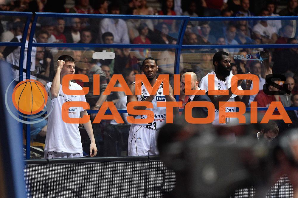 Milano 10.05.2016<br /> Basket Serie A - Playoff Gara 2<br /> EA7 Emporio Armani Milano - Dolomiti Energia Trento<br /> <br /> Nella foto: panchina Trento