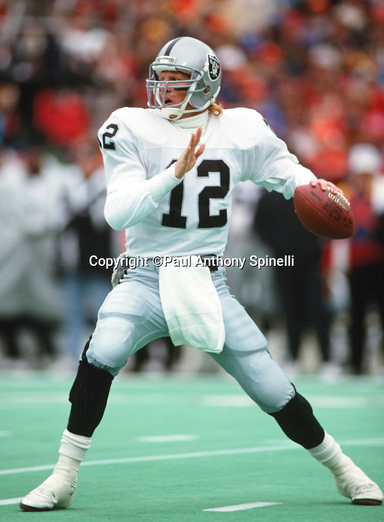 Los Angeles Raiders quarterback Todd Marinovich (12) throws a pass during the NFL AFC Wild Card playoff football game against the Kansas City Chiefs on Dec. 28, 1991 in Kansas City, Mo. The Chiefs won the game 10-6. (©Paul Anthony Spinelli)