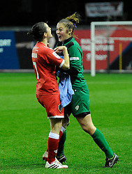 Bristol Academy Womens' Natalia Pablos Sanchon celebrates with Bristol Academy Womens' Mary Earps after the game  - Photo mandatory by-line: Joe Meredith/JMP - Mobile: 07966 386802 - 13/11/2014 - SPORT - Football - Bristol - Ashton Gate - Bristol Academy Womens FC v FC Barcelona - Women's Champions League