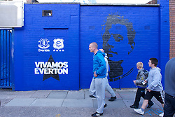 LIVERPOOL, ENGLAND - Wednesday, August 4, 2010: Everton graffiti of Phil Jagielka outside Goodison Park ahead of the preseason match against Chile's Everton de Vina del Mar. (Pic by: David Rawcliffe/Propaganda)