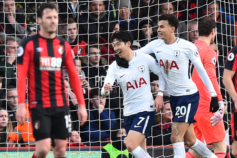 Goal - Son Heung-Min (7) of Tottenham Hotspur celebrates scoring a goal to make the score 1-2 with Dele Alli (20) of Tottenham Hotspur during the Premier League match between Bournemouth and Tottenham Hotspur at the Vitality Stadium, Bournemouth, England on 11 March 2018. Picture by Graham Hunt.