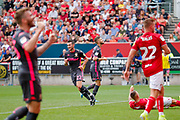 Leeds United midfielder Jack Harrison (22), on loan from Manchester City, scores a goal to make the score 0-3 during the EFL Sky Bet Championship match between Bristol City and Leeds United at Ashton Gate, Bristol, England on 4 August 2019.