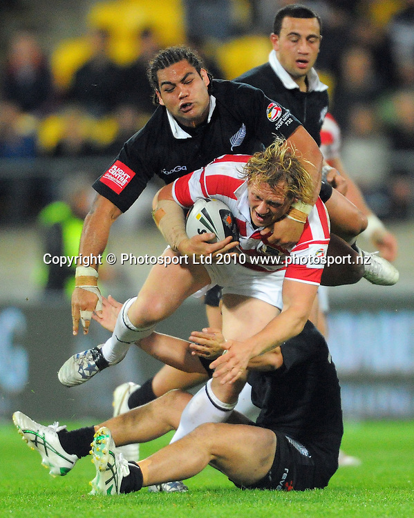 Adam Blair tries to bring down England's Ben Westwood. Four Nations Rugby League - New Zealand Kiwis v England at Westpac Stadium, Wellington, New Zealand on Saturday, 23 October 2010. Photo: Dave Lintott / photosport.co.nz