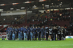 Bristol Rugby have a team talk after the game - Photo mandatory by-line: Dougie Allward/JMP - Mobile: 07966 386802 - 17/04/2015 - SPORT - Rugby - Bristol - Ashton Gate - Bristol Rugby v Jersey - Greene King IPA Championship