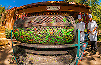 Cooks roasting green chiles, El Pinto Restaurant and Cantina, Albuquerque, New Mexico USA