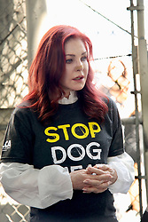 Priscilla Presley protests against Korean dog trade. 17 Jul 2018 Pictured: Priscilla Presley. Photo credit: APEX / MEGA TheMegaAgency.com +1 888 505 6342
