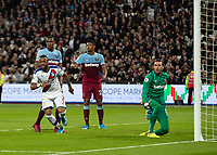Football - 2019 / 2020 Premier League - West Ham United vs. Crystal Palace <br /> <br /> Jordan Ayew (Crystal Palace) turns away to celebrate before he sees the linesman's flag raised for offside at the London Stadium<br /> <br /> COLORSPORT/DANIEL BEARHAM