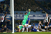 Newcastle United goalkeeper Martin Dubravka (1) keeps out another Everton effort on goal during the Premier League match between Everton and Newcastle United at Goodison Park, Liverpool, England on 21 January 2020.